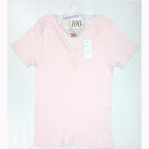 【豊富なサイズ展開☆年間売れ筋】婦人 インド綿100% 椿オイル保湿加工 V首3分袖インナー