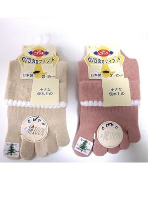 【日本製☆特許靴下☆年間定番】婦人 『ピタッチ』 表綿100%5本指ソックス